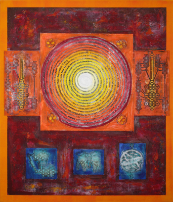 Peace Circles Orange Blue Bordeaux Red