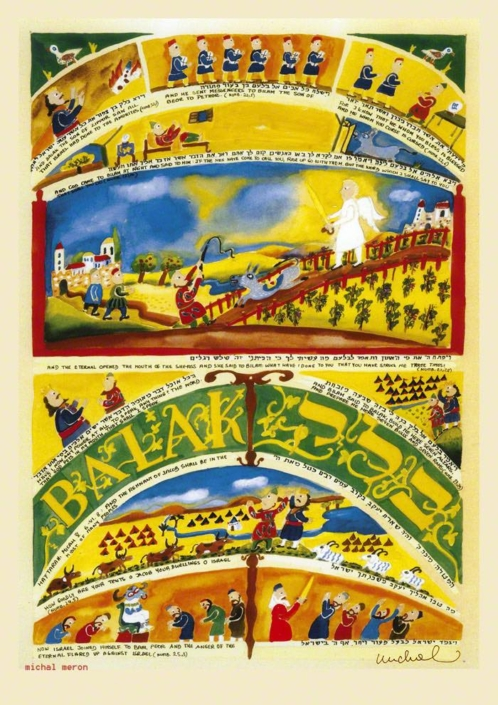Parasha Balak – Parashot Balak - THIS WEEK'S Parasha n.41 Jewish Art - The Studio in Venice by Michal Meron – The Illustrated Torah Scroll